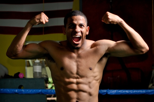 Felix Verdejo trains for the local PR media in preparation for his Solo Boxeo Tecate matchup this upcoming april 16th in San Juan, Puerto Rico. Photo by Peter Amador for Top Rank Boxing.